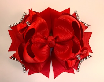 Red boutique hair bow 6 inches