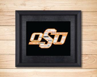 Oklahoma State University / Word Art Typography / Wall Art / Home Decor / College Gift Dorm Room Cowboys Go Pokes Pistol Pete OSU Stillwater