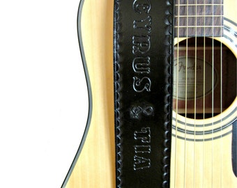 Black Leather Guitar Strap with Hand Tooled Edge, Personalized Guitar Strap