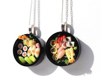 sushi necklace japenese food jewellery asian food necklace bento box necklace mini sushi necklace miniature food necklace tiny sushi charm