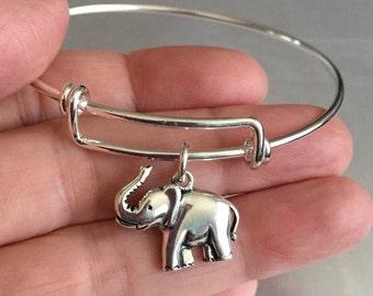 Elephant bracelet-sterling silver charm and bracelet