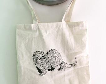 Beige screen-printed Otter tote bag