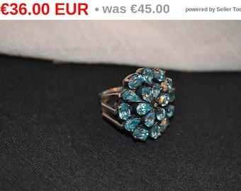 winter sales Vintage sterling silver ring 1035 with blue topaz size 8.75