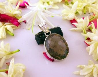 Premium Quality Shiny Smoky Quartz 925 Sterling Silver Pendant - 100 % Handmade Jewellery