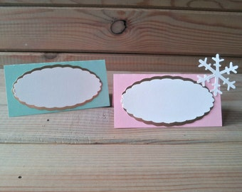 Snowflake Place Cards / Food Tents - snowflake decorations - pink and gold party - party supplies