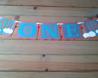 Hot Air Balloon High Chair Banner - up up & away party - hot air balloon Banner - First Birthday - Party Supplies - boys birthday