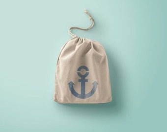 Navy anchor cotton bag