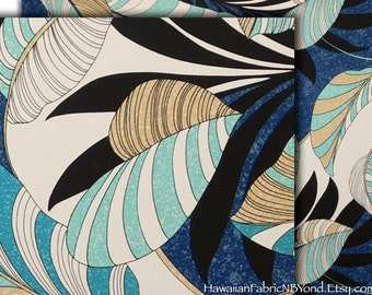 Tropical Fabric - Banana Leaves, Heart Leaves, Blues, Cotton Fabric, By the Yard, HC9788