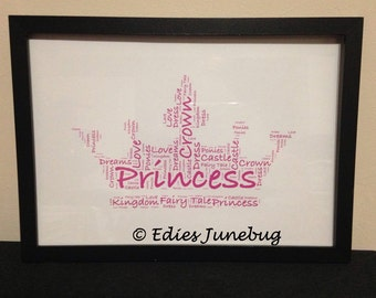 Princess Crown Word Collage, Fairytale Gifts, Little Girls Bedroom Decor, Personalised Pink Word Art, Birthday Gifts,