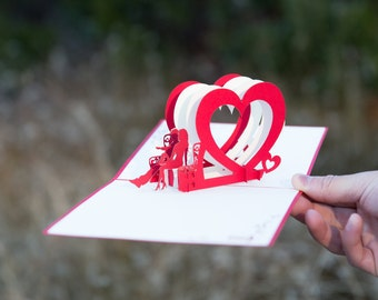 Heart Bench Pop Up Valentine's Day Card, Valentine's Day Pop Up Card, Valentines Day Card, Be Mine, Be My Valentine, Couple on a Bench