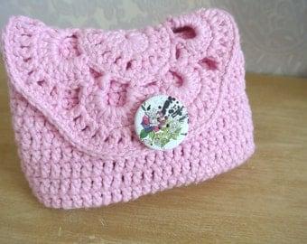 Kit makeup in pink cotton crochet