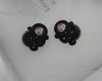 Soutache pearl earrings Black soutache earrings