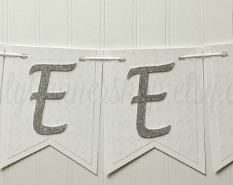 SWEET 16/Sweet 16 Banner/Sweet 16 Party Decor/White/Silver Glitter/Photo Props