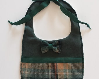Baby bib with Green bow tie