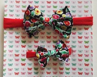 Papillon necklace and bracelet set staple cotton fabric with floral design