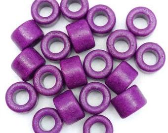 20 ceramic cylinder, purple, 6mm, 20 pieces, ceramic beads, Greek, greek, ceramic beads, Greece