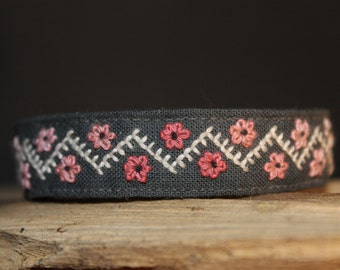 Embroidered Bracelet Pink Flowers Ethnically Feminine Handmade Hand Stitched