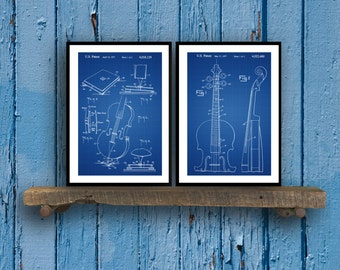Musical Instrument Inventions - Patent Print - Set of 2 - Cello Patent - Cello Wall Art - Cello Decor - Stringed Instruments - sp16