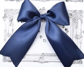 Navy cheer bow, navy blue cheer bows, navy cheer bows, navy satin bow, cheer bows navy, navy hair bows, navy blue bow, friend gift idea,