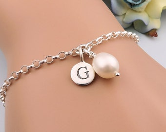 Pearl Bracelet, Bridesmaid Bracelet, Pearl Initial Bracelet, Personalized Bracelet, Sterling Silver Bridesmaid Gifts, Wedding Jewelry