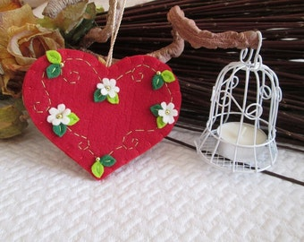 Ornament with red felt heart-felt Ornament-