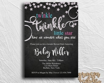 Twinkle Twinkle Little Star, Gender Reveal Invitation, Printable, Glitter