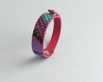 Leather bracelet, two-way bracelet, splendid python bracelet
