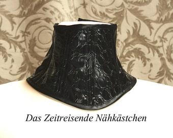 Neck Corset, Choker, black crocodile-printed vonyl