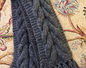 Hand Knitted Chunky Cable Scarf, Gray Knitted Cable Scarf, Women's Chunky Knitted Scarf, Knitted Scarf