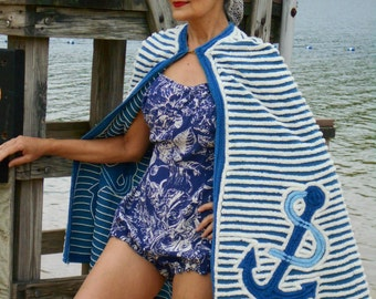 Anchors Aweigh! 1940's Awesome Chenille Blue and White Beachwear Cape