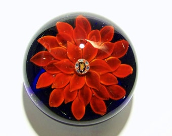 Red Dahlia Art Glass Paperweight