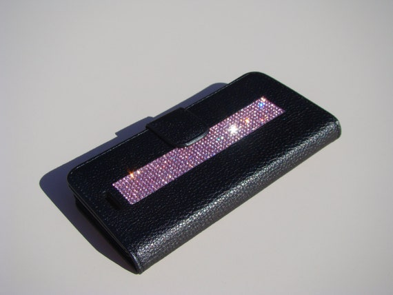 iPhone 8 / iPhone 7 Pink Diamond Rhinestone Crystals on Black Wallet Case. Velvet/Silk Pouch bag Included, .