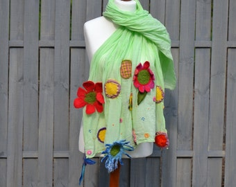Nuno Felted scarf collar green  flower handmade merino wool ooak felted shawl