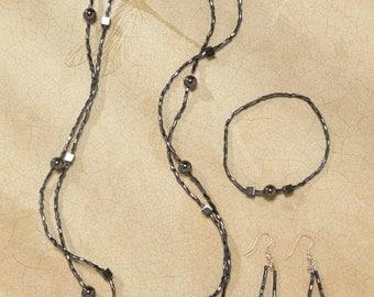 Beautiful Set Onix with Bugles Beads