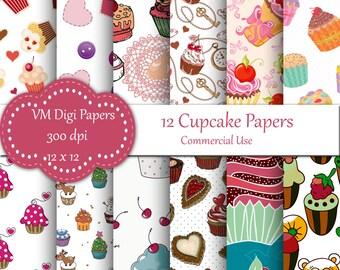 Cupcakes Digital Paper, Birthday, cupcakes, Digital Paper, Cupcakes Scrapbook Paper, Digital Paper, Birthday Paper, Cupcake, Cupcakes, #7938