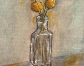 Billy Button Flowers in Bottle 8x10 Art Print