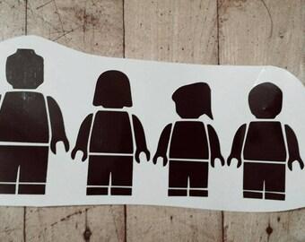 Lego Family car decal-stick figure family