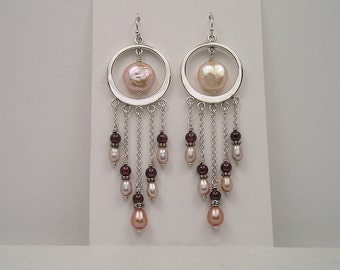 Sterling Chandelier Earrings with Garnet and Lilac Freshwater Pearls