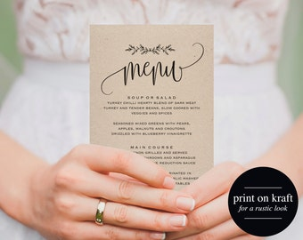Printable Wedding Menu, Wedding Menu Template, Menu Cards, Menu Template, Editable Menu, Rustic Wedding, PDF Instant Download #BPB202_4