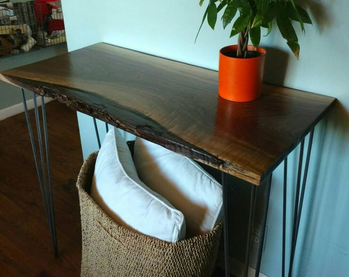 Live Edge Walnut console table rustic modern hairpin legs