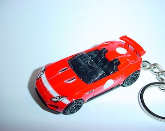 3D Jaguar F-Type project 7 custom keychain by Brian Thornton keyring key chain finished in red racing colors trim metal body