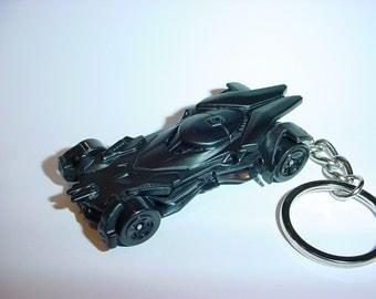 Dawn of Justice 3D Batmobile custom keychain by Brian Thornton keyring key chain finished flat black color trim diecast metal body Batman