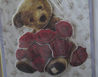 Teddy with Flowers Card