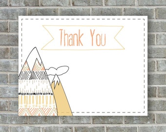 Baby shower THANK YOU CARD-  Let the adventure begin- Flat & Folded A2 Sized - Instant Download