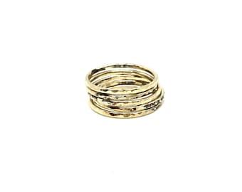 5 Gold Filled Hammered Stackable Ring Set