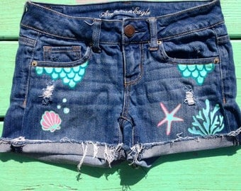Hand Painted Mermaid Jean Shorts Cut Offs Recycled
