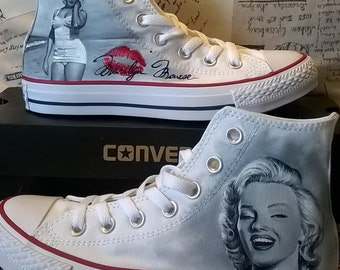 Marilyn Monroe hand painted custom shoes , portrait , hand made Converse