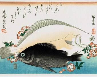 "Japanese Ukiyoe, Woodblock print, antique, Hiroshige, ""Halibut, Rockfish & Cherry Blossoms"""