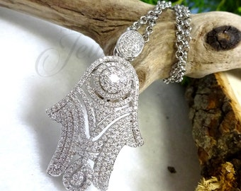 Dazzling Silver CZ Hamsa Pendant Necklace