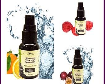 Organic Anti Aging Serum Trio  - Vitamin C Serum + DMAE Anti Aging Serum + Age Reversing Eye Serum - Organic Skin Care - Face Serum